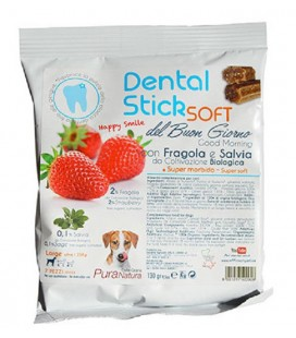 Officinalis Dental Stick Soft Del Buon Giorno - snack per cani Medium 10-25 kg con Fragola e Salvia gr 90