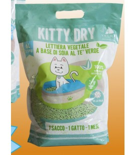 Velma Kitty dry lettiera naturale al the verde per gatti 6 lt, 2,5 kg