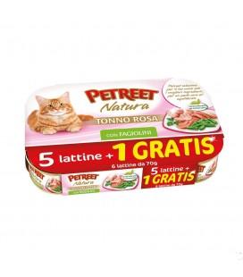 Petreet Natura tonno rosa e fagiolini Confezione risparmio 5+1 omaggio da 70 gr