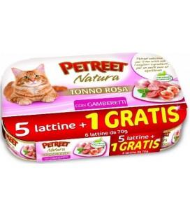 Petreet Natura tonno rosa e gamberetti Confezione risparmio 5+1 omaggio da 70 gr
