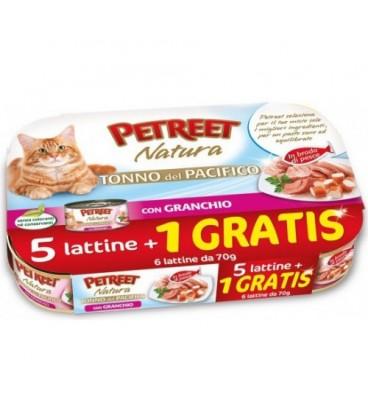 Petreet Natura tonno del pacifico con granchio conf.risp.5+1 omaggio da 70 gr