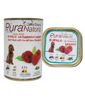 Dalla Grana Pura natura alimento umido per cani con bufalo e lamponi 400 gr