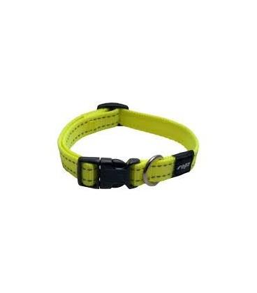 Rogz Snake collare naylon riflettente M diam.26/40 cm larg.0.15 cm giallo luminescente