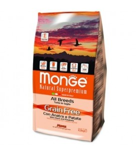 Monge Natural Superpremium Grain free crocchette adult all breeds con anatra e patate kg 2.5