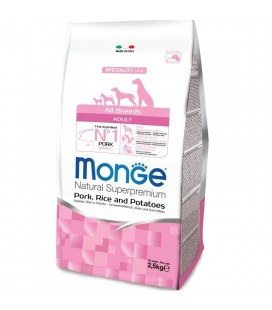 Monge Natural Superpremium crocchette adult all breeds con maiale,riso e patate kg 12