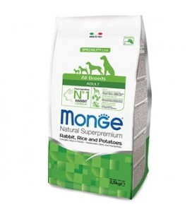 Monge Natural Superpremium crocchette adult all breeds con coniglio,riso e patate kg 2.5