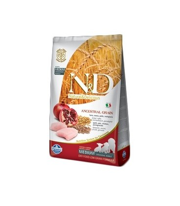 Farmina N & D Low Ancestral Grain Puppy Medium farro ,avena,pollo e melograno kg.2.5