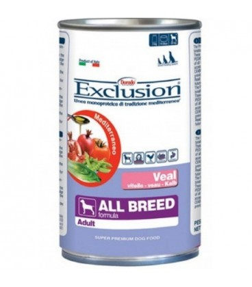 Exclusion Mediterraneo in scatola Adult All Breed con vitello gr.400