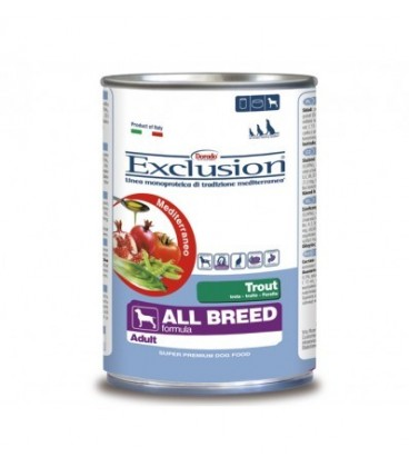 Exclusion Mediterraneo in scatola Adult All Breed con trota gr.400