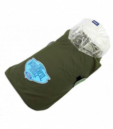 Dobez Cappottino Impermeabile con cappuccio trasparente taglia XXL verde