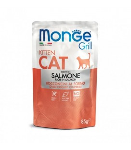 Monge gatto grill kitten al salmone da 85 gr in busta
