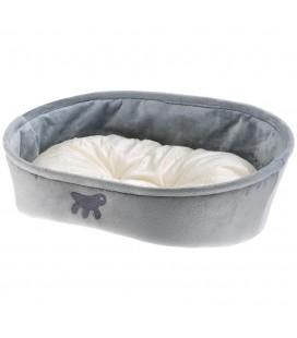 FERPLAST Lettino Per Cani E Gatti Laska 55 Con Cuscino, Cuccia In Tessuto Per Animali, Lavabile, 55 X 40 X H 18,5 Cm, Grigio