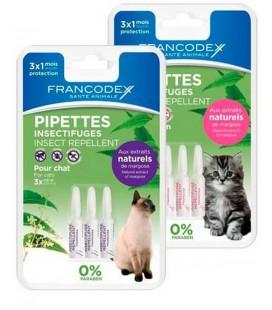 Francodex pipette barriera naturali per gatti sopra i 2 kg ,olio di neem,citronella e limone 4 pipette da 1 ml