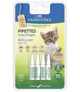 Francodex pipette barriera naturali per gattini sotto i 2 kg ,con olio di neem,citronella e limone 4 pipette da 0.6 ml