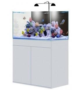AQPet Kit Acquario Kubic 90 bianco con supporto in vetro extrachiaro compreso filtro sump