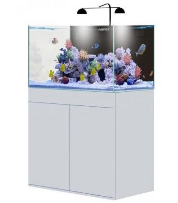 AQPet Kit Acquario Kubic 90 bianco con supporto in vetro extrachiaro