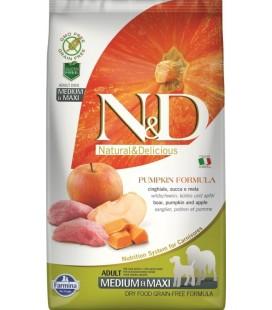 N&D Grain Free Pumpkin Adult Mini Cinghiale e Mela è un alimento secco completo per cani adulti di piccola taglia. kg 2.5