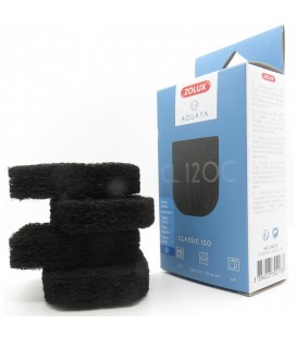 Zolux Aquaya spugna carbone classic 120 4 spugne