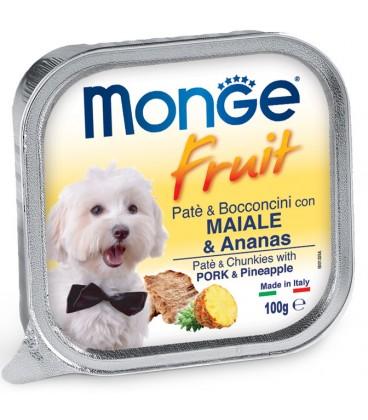 MONGE FRUIT DOG PATÉ E BOCCONCINI CON MAIALE & ANANAS 100 G.