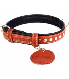 Collar Collare Nappa Soft 29mm x30-39 cm con decorazioni metalliche Brown Top S