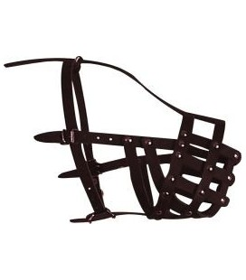 Collar Museruola in cuoio a gabbia per cani grandi 38cm x 5 cm
