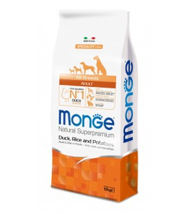 Monge Natural Superpremium crocchette adult all breeds con anatra,riso e patate kg 12