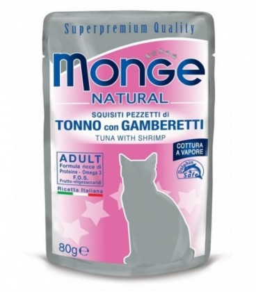 Monge Natural pezzetti umido in bustina con tonno e gamberetti gr.80