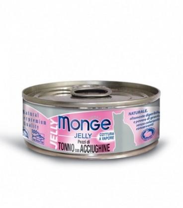 Monge Natural Jelly in scatola pezzi di tonno e acciughine in gelatina gr.80