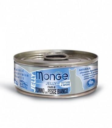 Monge Natural Jelly in scatola filetti di tonno e pesce bianco in gelatina gr.80