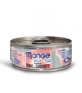 Monge Natural Jelly in scatola pezzetti di tonno e gamberetti in gelatina gr.80