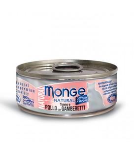 Monge Natural in scatola con tonno,pollo e gamberetti gr.80