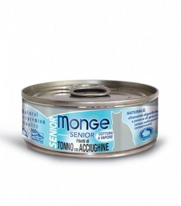 Monge Natural Senior in scatola filetti di tonno e acciughine gr.80