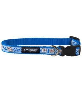 Amiplay Collare naylon con disegni XL diam. 45/70 cm larg.2,5 cm blu