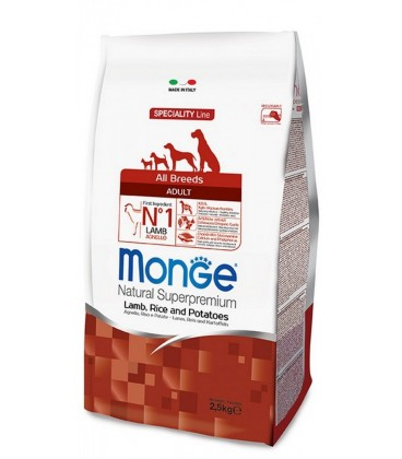 Monge Natural Super Premium adult all breeds con agnello, riso e patate kg.12