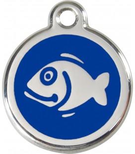 Medaglietta in acciaio inossidabile con smalto per gatti Blu cod.1FI (compresa incisione)