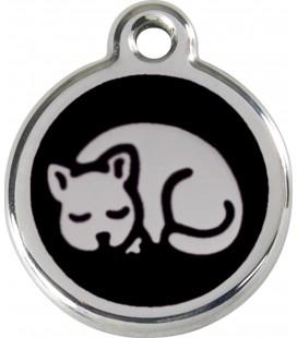 Medaglietta in acciaio inossidabile con smalto per gatti Nera cod.1KT (compresa incisione)