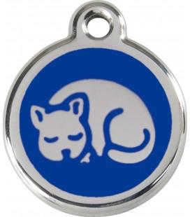 Medaglietta in acciaio inossidabile con smalto per gatti Blu cod.1KT (compresa incisione)