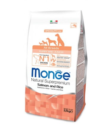 Monge Super Premium All-Breeds Puppy Salmone-Riso 12 Kg